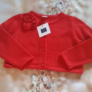 Janie and jack NWT 24 M red roses crop cardigan